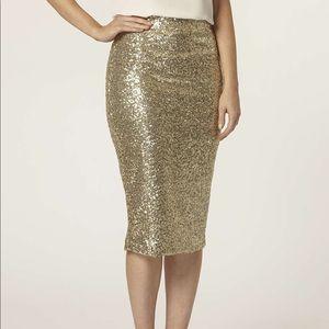 TFNC London Gold Sequin Midi Pencil Skirt